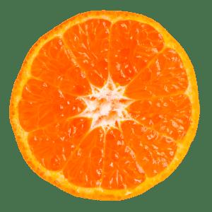 Eine aufgeschnittene Clementine