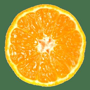 Eine aufgeschnittene Mandarine