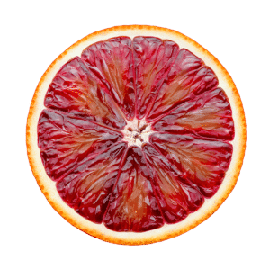 Eine aufgeschnittene Moro-Orange
