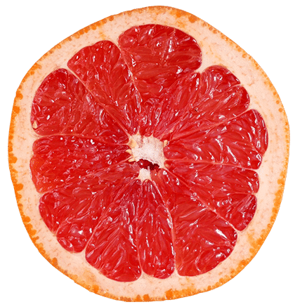 A sliced grapefruit