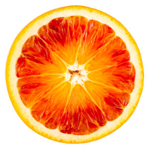 A sliced tarocco orange