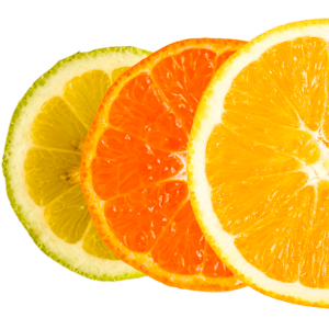 A mix of citrus fruits (lime, clementine and orange)