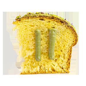 Scheibe von Panettone mit Pistaziencreme aus Der besten Bäckerei Siziliens hier in Wien