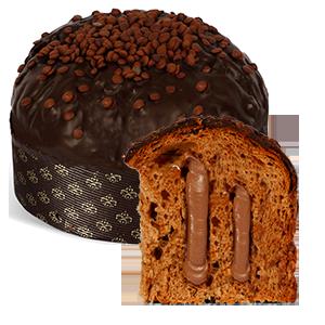 Panettone mit dunkler Schokoladencreme und dunklem Schokguss aus der besten Bäckerei Siziliens, hier in Wien
